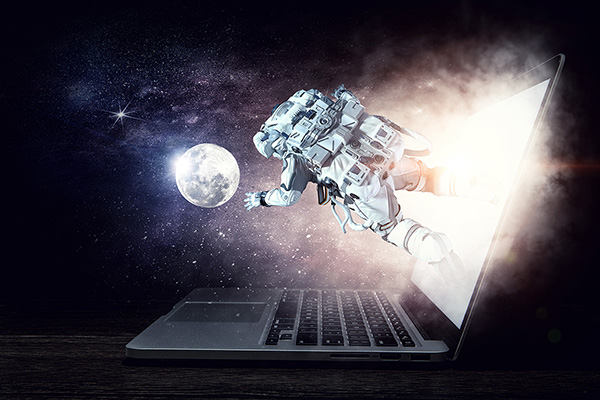 A laptop in the dark, with a nebula coming out of the screen. An astronaut floats in the starry void, reaching out toward a moon in the distance.