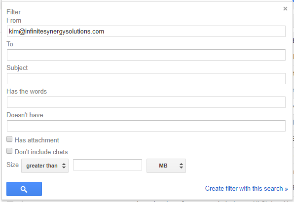 Screenshot of the Gmail filter settings