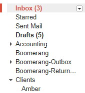 Screenshot of the gmail sidebar, where you can find your labels