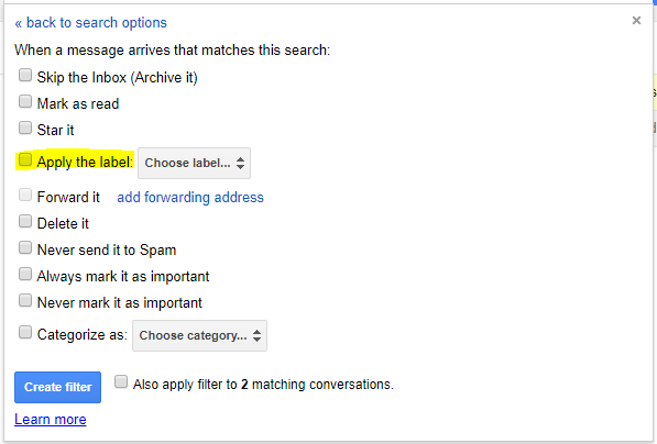 Screenshot demonstrating which options to select to automatically apply labels as part of a Gmail filter